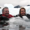Jett and Kathryn in ice flow at Le Conte Glacier
