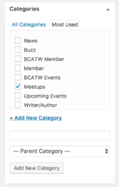wordpress bcatw categories