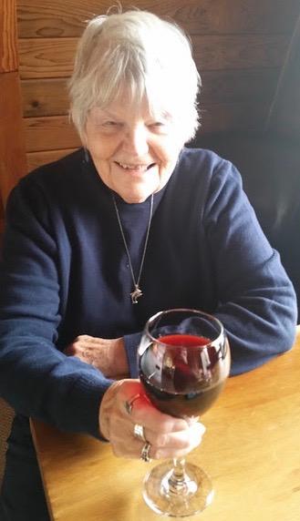 Ruth Kozak with wine